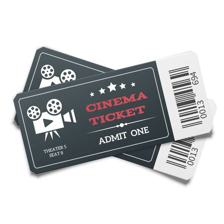 Realistic pair of modern black movie tickets isolated on white background. Top view.