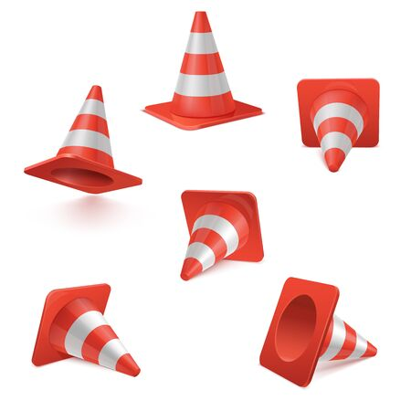 realistic vector set of plastic red road Cones in various positions. striped traffic cones isolated on white background