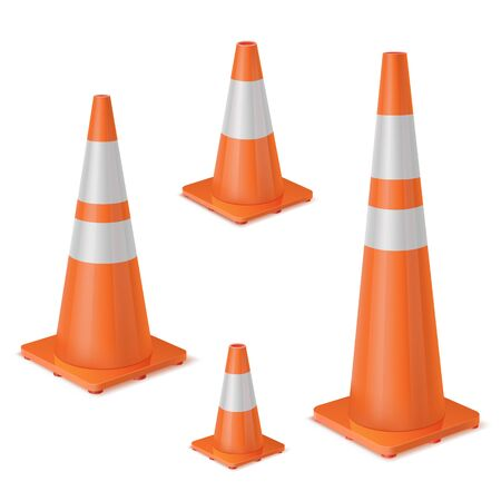 Orange realistic road plastic white striped shiny cone. Equipment to ensure safe movement during road repair or road accident. Vector set on white background.
