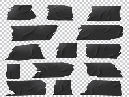 Ensemble vectoriel réaliste de morceaux de ruban adhésif noir de différentes longueurs et formes.