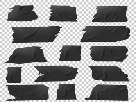 Realistic vector set of pieces of black adhesive tape of various lengths and shapes.