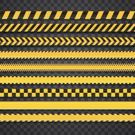 Conjunto transparente realista de cintas de peligro y línea policial.