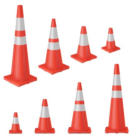 Red realistic road plastic white striped shiny cone. equipment to ensure safe movement during road repair or road accident. Vector set on white background.