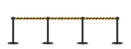 Retractable belt stanchion. Portable ribbon barrier. Striped black-yellow fencing tape. Stock Illustratie