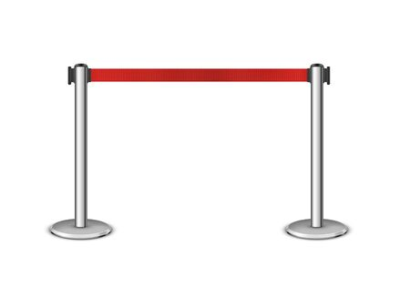 RRetractable belt stanchion. Portable ribbon barrier. Red fencing tape. Stock Illustratie