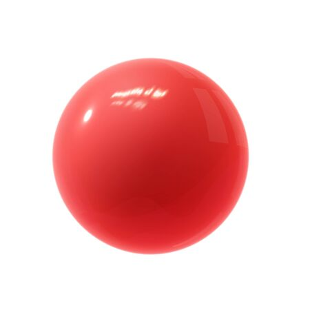 Realistic red glossy 3D sphere with reflection