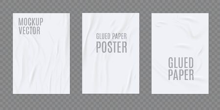 Wrinkled paper vector realistic template for poster or flyer glued to the wall. Vector set Illustration