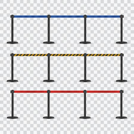 RRetractable belt stanchion. Portable ribbon barrier. Red fencing tape. Ilustração