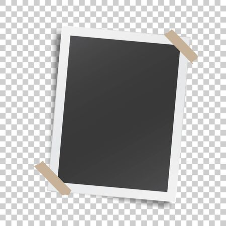 Realistic template with paper photo frame with adhesive tape