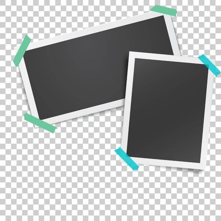 Realistic template with paper photo frames glued with adhesive tape