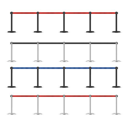 Realistic retractable belt stanchion set. Portable ribbon barrier. Black and Red fencing tape. Chrome and dark matte stanchion