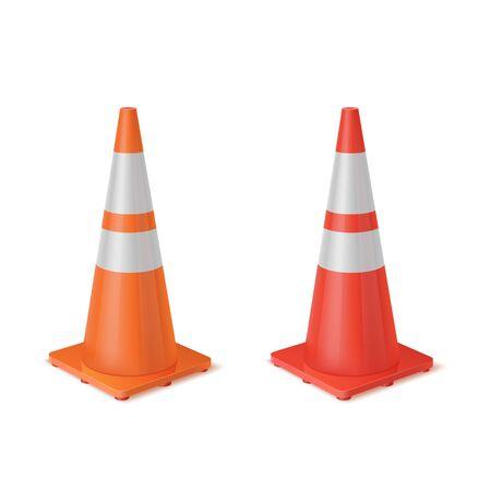 Red and orange realistic road plastic white striped shiny cones.  イラスト・ベクター素材