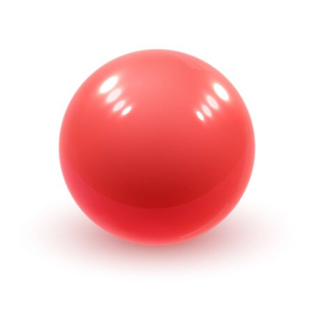 Realistic red glossy 3D sphere with reflections. Realistic vector template for your design.