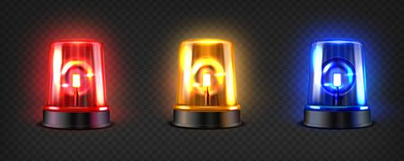 Realistic led flashers set. Red, blue and orange lights. Transparent beacon for different emergency situations. Illustration on a dark background.