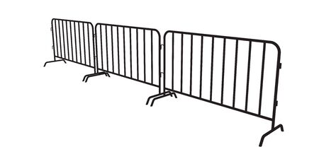 Urban portable steel barrier. Black silhouette of a barrier fence on a white background. Perspective view Foto de archivo - 138475148