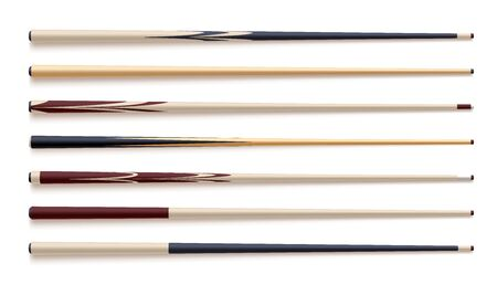 Realistic vector set of wooden billiard cues isolated on white white background