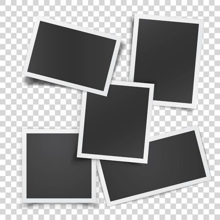 Retro photograph set isolated on abstract checkered background. Realistic vector paper photo frame template for your design. Scrapbook concept, vector illustration.