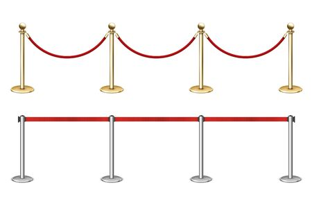 Golden rope barrier with red velvet rope fence.