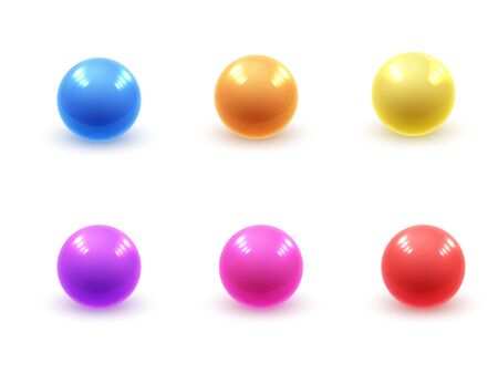 Realistic modern vector set of colorful shiny glossy plastic balls with glare reflections and shadows isolated on a white background  イラスト・ベクター素材