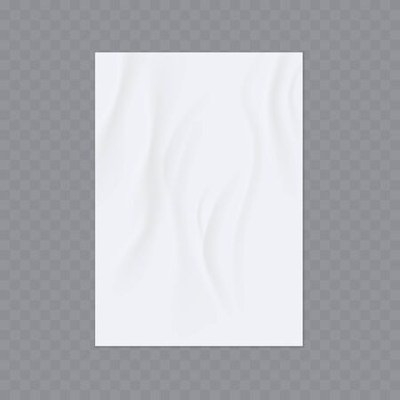 A sheet of sloppy paper. Wrinkled paper vector realistic template for poster or flyer glued to the wall.