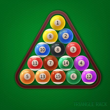 Triangle pool ball racks. Vector illustration on green textured background.
