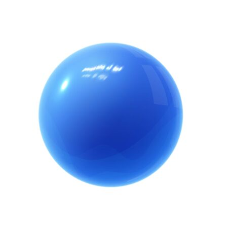 Realistic blue glossy 3D sphere with reflections.