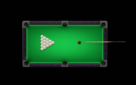 Russian pyramid table with billiard cue and glossy ivory balls and other equipment. Vector realistic 3D detailed colorful illustration. Russian Billiards table background