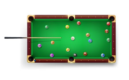 American Pool table with pool cue and glossy balls and other equipment. Vector realistic 3D detailed colorful illustration. Snooker table background for design of a billiard club or tournament. ..
