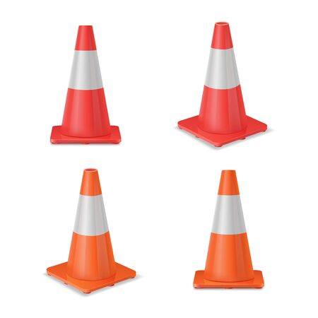 Red and orange realistic road plastic white striped shiny cones. Stock Illustratie