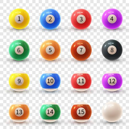 Realistic colorful vector set of glossy 3D billiard balls