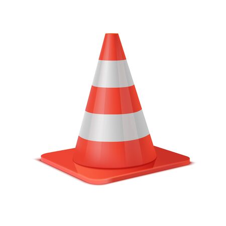 Realistic vector plastic red road cone. White striped traffic cones isolated on white background. Perspective view