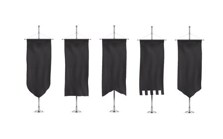 Vertically hanging banners on a metal flagpole black flags templates. Hanging down fabric template for advertising. Realistic banner template collection.