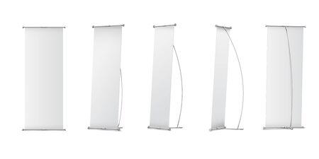 Indoor Blank L-Stand Banner for design presentation. Vector illustration on white background Ilustrace