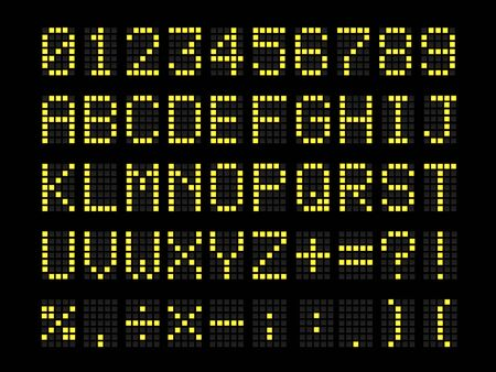 Realistic Digital terminal led bulb terminal table font. Letters, numbers, and punctuation marks. Airport and scoreboard led symbols.