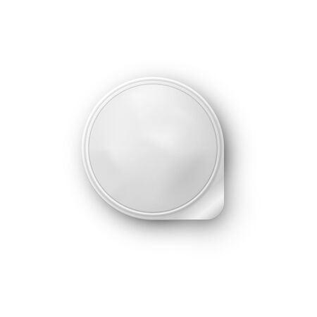 Round white realistic vector pot with a lid of foil for storing yogurt, sour cream and other dairy products and desserts. Realistic vector isolated on white background. Top view. Ilustração