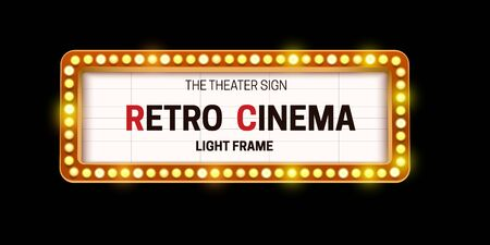 Realistic 3D light bulb cinema frame in retro style on black background.