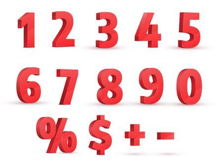 Rote Zahlen. 3D realistischer Vektorsatz. Perspektivische Ansicht. Prozentzeichen, Dollarzeichen, Plus und Minus.