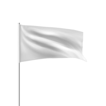 White flag waving in the wind. Realistic 3D horizontal vector flag template for advertising and design. Isolated on a white background.