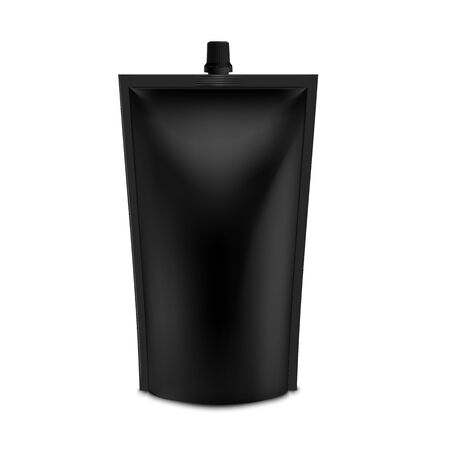 Realistic Black Blank Doy Pack Mock up. Vector Doypack Template Packing with screw cap. Food Or Drink Bag Packaging With Top Spout Lid. Isolated On White Background.