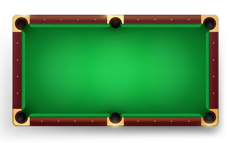Empty pool table vector realistic detailed colorful illustration. Pool table background for design of a billiard club or billiard tournament.