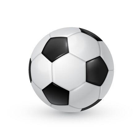 Realistische Vektorillustration des Fußballs lokalisiert auf weißem Hintergrund.