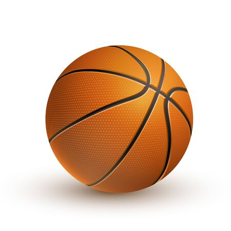 3D Realistic Vector Basketball Isolated On White Background.