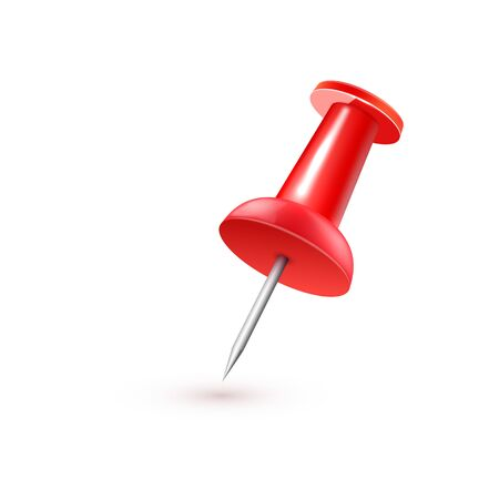 Realistic vector plastic glossy red push pin 3D vector icon on white background. Illustration