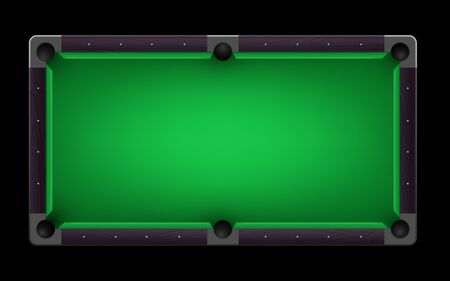 Empty pool table vector realistic detailed colorful illustration on black background Ilustracja