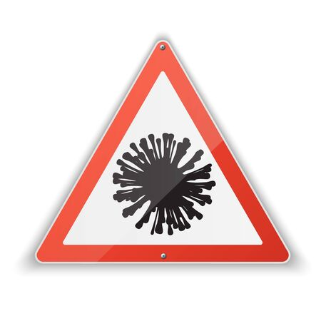 Realistic triangular icon of coronavirus with a red warning sign about the danger of coronovirus infection. Covid-19.