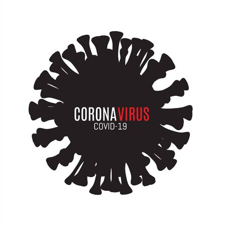 Black silhouette of coronavirus vector icon on white background Concert protection against coronavirus infection. Stock Illustratie