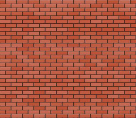 Red brown realistic brickwall. Vector seamless texture