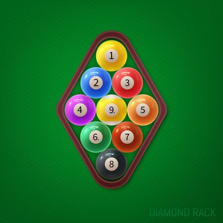 Diamond pool ball racks. Vector illustration on green textured background