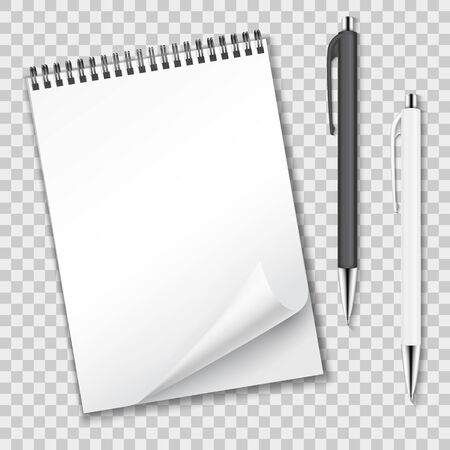 Vertical clean blank spiral notebook with curled sheet and ballpoint pens automatic. Vector illustration on abstract checkered background.