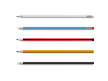 Realistic vector set of classic simple wooden graphite pencils...Stationery for writing and drawing. Cartoon style. Vector set isolated on a white background.
